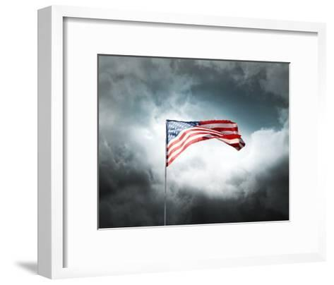 American Flag On A Cloudy Dramatic Sky-daboost-Framed Art Print