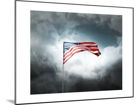 American Flag On A Cloudy Dramatic Sky-daboost-Mounted Art Print