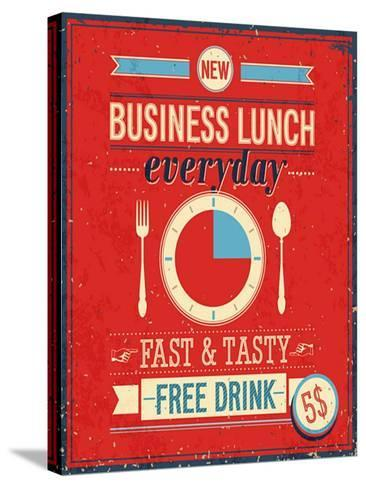 Vintage Bussiness Lunch Poster-avean-Stretched Canvas Print