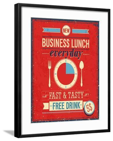 Vintage Bussiness Lunch Poster-avean-Framed Art Print