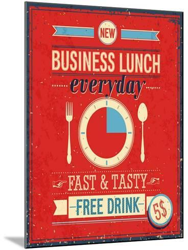 Vintage Bussiness Lunch Poster-avean-Mounted Art Print