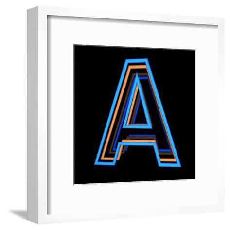 Glowing Letter A Isolated On Black Background-Andriy Zholudyev-Framed Art Print