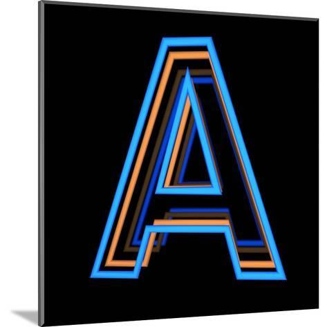 Glowing Letter A Isolated On Black Background-Andriy Zholudyev-Mounted Art Print