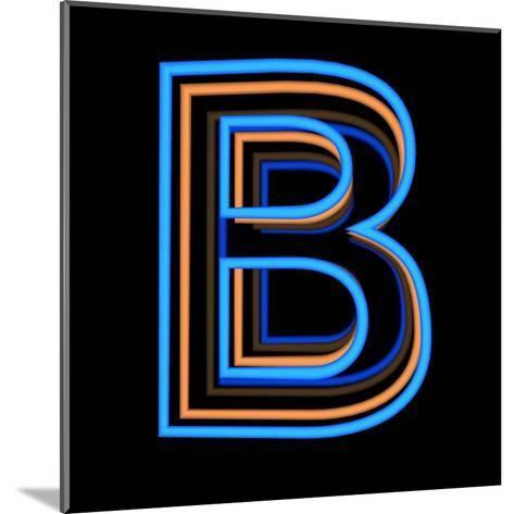 Glowing Letter B Isolated On Black Background-Andriy Zholudyev-Mounted Art Print