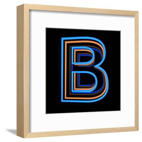Glowing Letter B Isolated On Black Background-Andriy Zholudyev-Framed Art Print