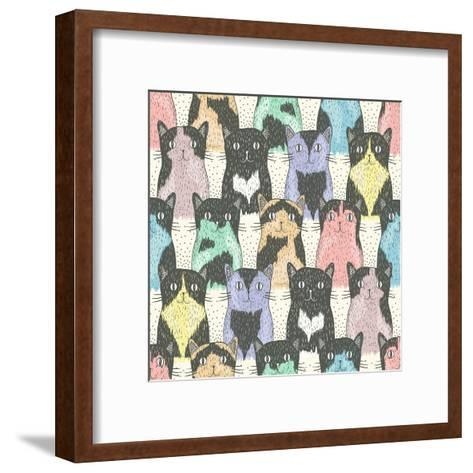 Seamless Pattern With Cute Cats For Children-cherry blossom girl-Framed Art Print
