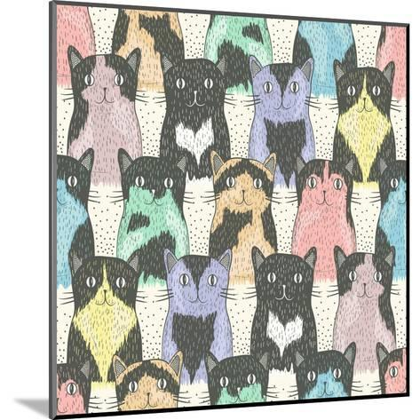Seamless Pattern With Cute Cats For Children-cherry blossom girl-Mounted Art Print