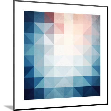Abstract Blue Triangles Geometry-art_of_sun-Mounted Art Print