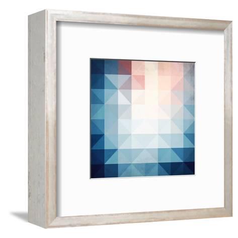 Abstract Blue Triangles Geometry-art_of_sun-Framed Art Print