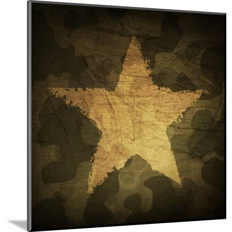 Military Camouflage Background With Grunge Star-pashabo-Mounted Art Print