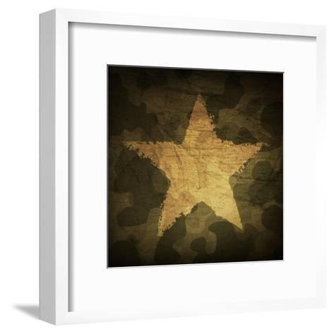 Military Camouflage Background With Grunge Star-pashabo-Framed Art Print