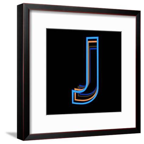 Glowing Letter J Isolated On Black Background-Andriy Zholudyev-Framed Art Print