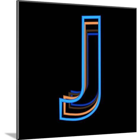 Glowing Letter J Isolated On Black Background-Andriy Zholudyev-Mounted Art Print