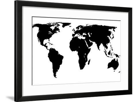 World map black on white art print by jacques70 the new art world map black on white jacques70 framed art print gumiabroncs Choice Image