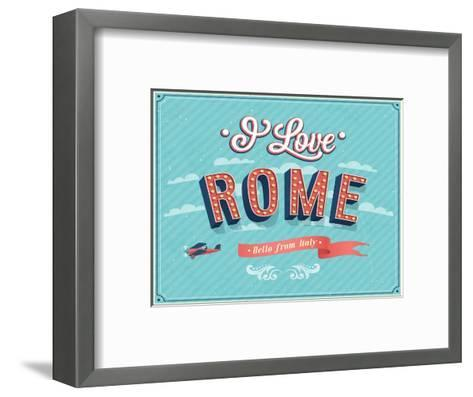 Vintage Greeting Card From Rome - Italy-MiloArt-Framed Art Print