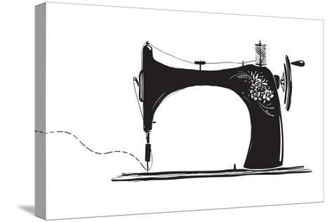 Vintage Sewing Machine Inky Illustration-Popmarleo-Stretched Canvas Print