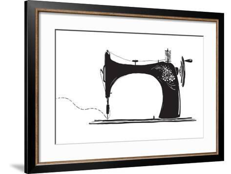 Vintage Sewing Machine Inky Illustration-Popmarleo-Framed Art Print