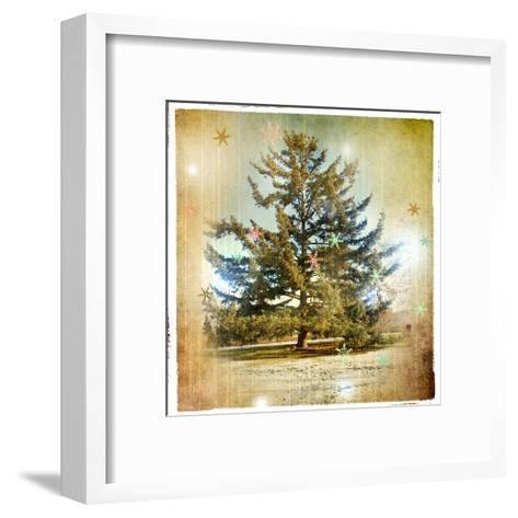 Vintage Winter Background With Pine Tree-Maugli-l-Framed Art Print