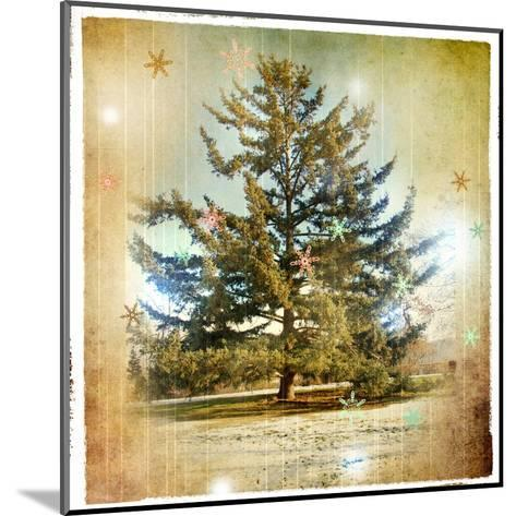 Vintage Winter Background With Pine Tree-Maugli-l-Mounted Art Print