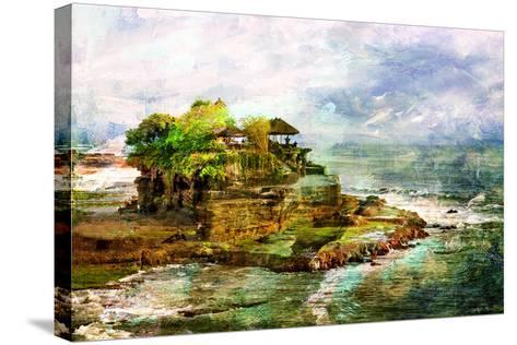 Ancient Balinese Temple - Picture In Painting Style-Maugli-l-Stretched Canvas Print