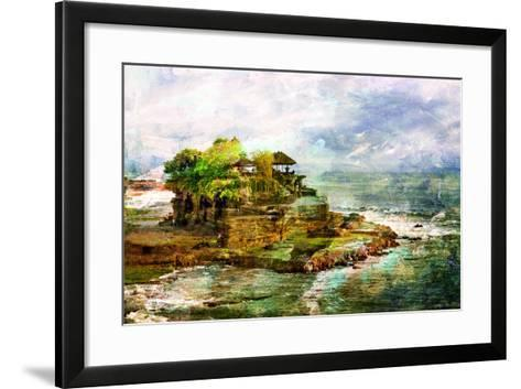 Ancient Balinese Temple - Picture In Painting Style-Maugli-l-Framed Art Print