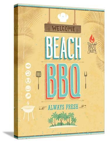Vintage Beach Bbq Poster-avean-Stretched Canvas Print
