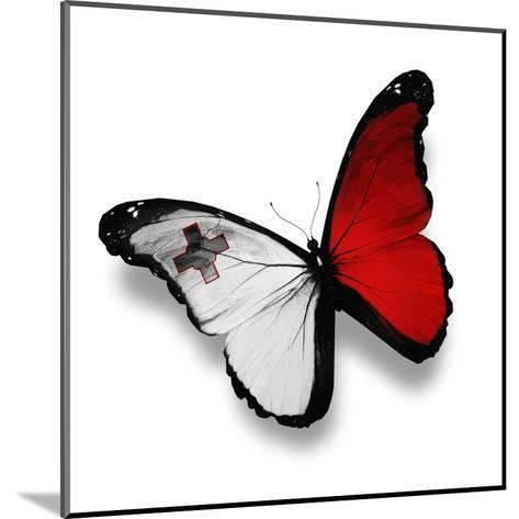 Maltese Flag Butterfly, Isolated On White-suns_luck-Mounted Art Print