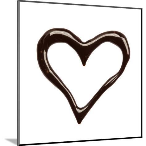 Close Up Chocolate Syrup Heart On White Background-donatas1205-Mounted Art Print