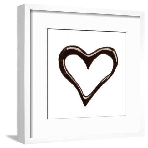 Close Up Chocolate Syrup Heart On White Background-donatas1205-Framed Art Print