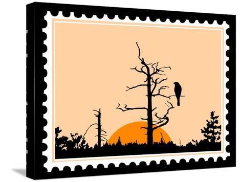 Silhouette Of The Bird On Tree On Postage Stamps-basel101658-Stretched Canvas Print