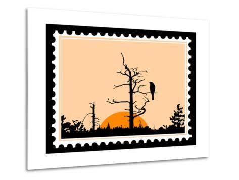 Silhouette Of The Bird On Tree On Postage Stamps-basel101658-Metal Print