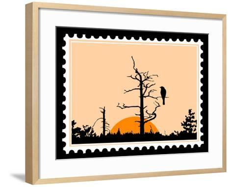 Silhouette Of The Bird On Tree On Postage Stamps-basel101658-Framed Art Print