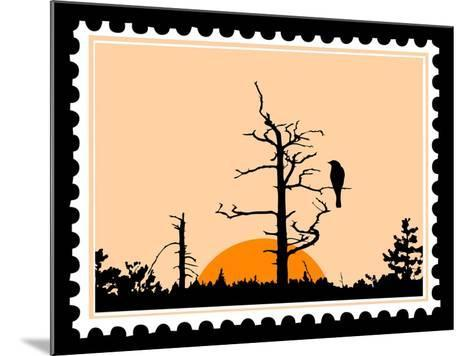 Silhouette Of The Bird On Tree On Postage Stamps-basel101658-Mounted Art Print