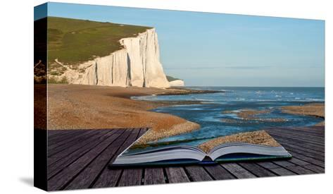 Creative Concept Image Of Seascape In Pages Of Book-Veneratio-Stretched Canvas Print