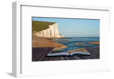 Creative Concept Image Of Seascape In Pages Of Book-Veneratio-Framed Art Print
