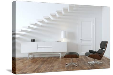 White Minimalistic Room With Black Lounge Chair- VizArch-Stretched Canvas Print