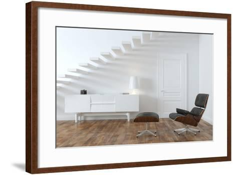 White Minimalistic Room With Black Lounge Chair- VizArch-Framed Art Print