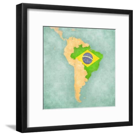 Map Of South America - Brazil (Vintage Series)-Tindo-Framed Art Print