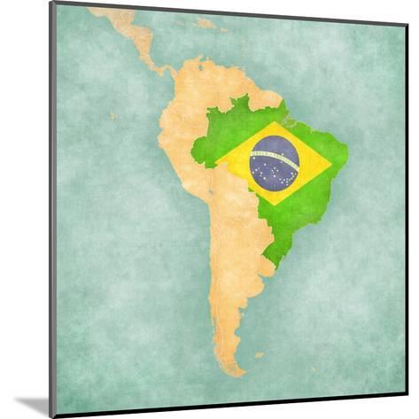 Map Of South America - Brazil (Vintage Series)-Tindo-Mounted Art Print