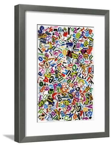 Handmade Alphabet Collage Of Magazine Letters-donatas1205-Framed Art Print