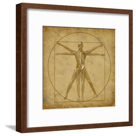 Vitruvian Human Diagram Grunge Medical Chart-digitalista-Framed Art Print