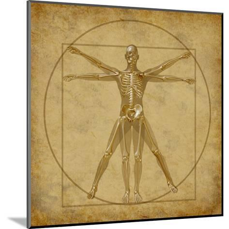 Vitruvian Human Diagram Grunge Medical Chart-digitalista-Mounted Art Print