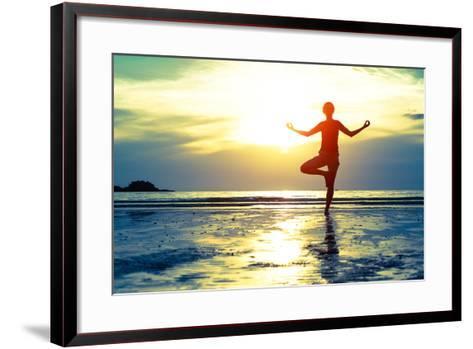 Woman Practicing Yoga On The Beach At Sunset-De Visu-Framed Art Print