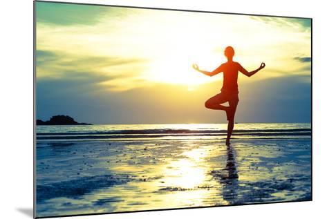 Woman Practicing Yoga On The Beach At Sunset-De Visu-Mounted Art Print