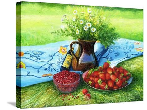 Still-Life With Camomiles And A Strawberry-balaikin2009-Stretched Canvas Print