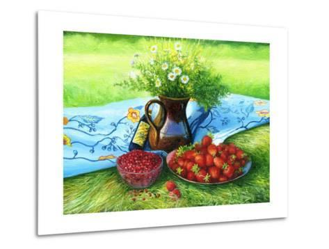 Still-Life With Camomiles And A Strawberry-balaikin2009-Metal Print