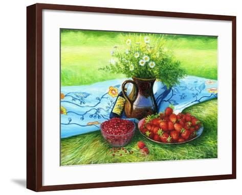 Still-Life With Camomiles And A Strawberry-balaikin2009-Framed Art Print