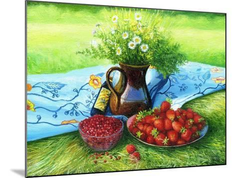 Still-Life With Camomiles And A Strawberry-balaikin2009-Mounted Art Print