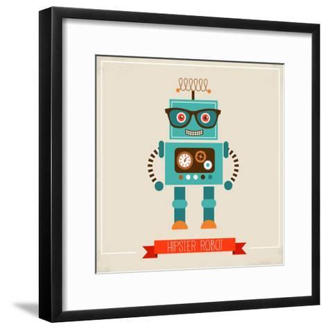Hipster Robot Toy Icon And Illustration-Marish-Framed Art Print