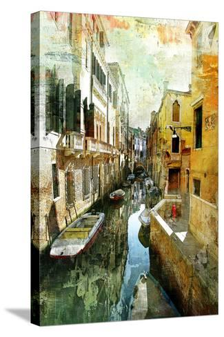 Pictorial Venetian Streets - Artwork In Painting Style-Maugli-l-Stretched Canvas Print